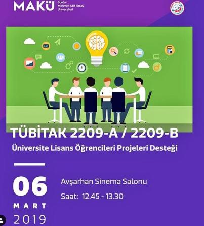 Progem topluluğu işbirliğiyle 6 Mart 2019 Çarşamba günü saat 12.45'te Üniversitemiz Lisans Öğrencilerine yönelik TÜBİTAK  2209-A & 2209-B Projeleri…